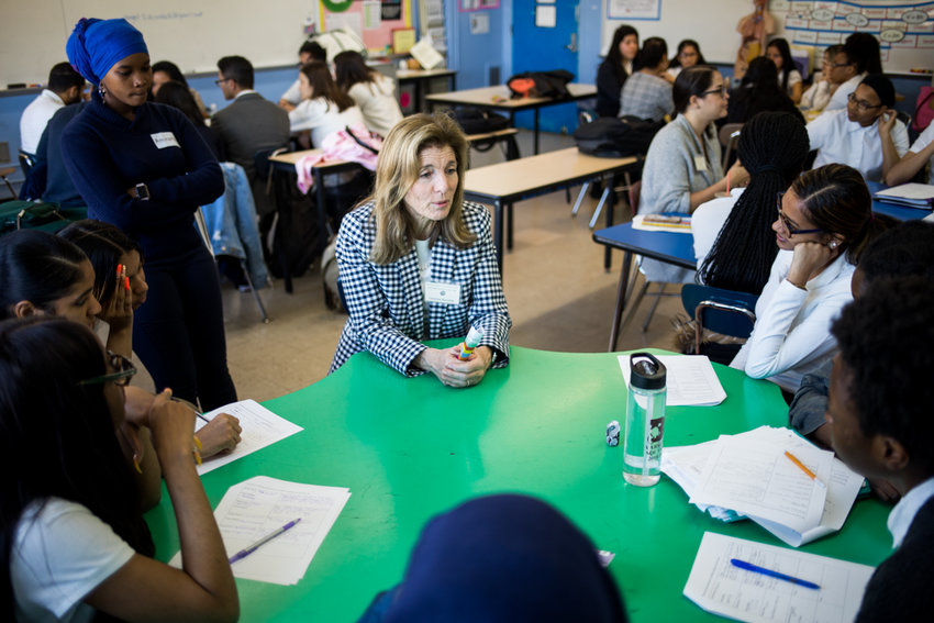 Caroline Kennedy, the former U.S. ambassador to Japan, talks about different career paths with students during career day at Marble Hill School for International Studies.