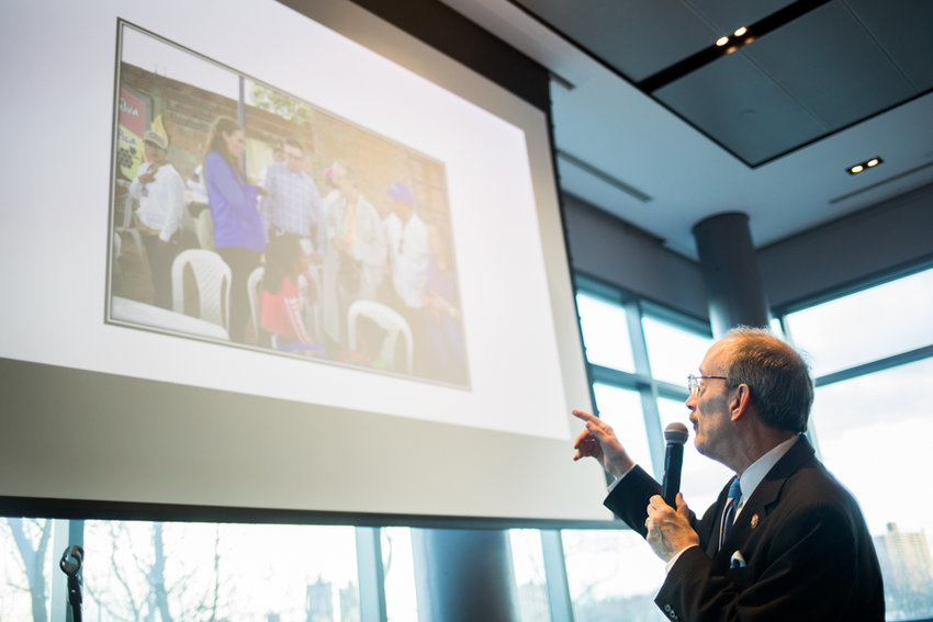U.S. Rep. Eliot Engel shows photographs from his recent trips to the U.S.-Mexico border and several countries in South America at Manhattan College. Engel spoke about the need for a humane approach to the migration crisis, and how he sharply disagrees with President Trump on the issue.