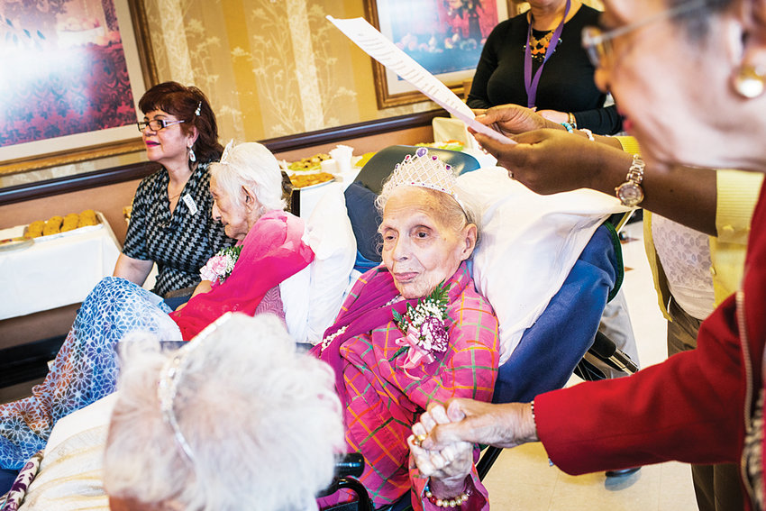 Bernice King, celebrating her 108th birthday at Manhattanville Health Care Center in 2015, listens to a family statement. King died March 28, just a week short of her 112th birthday.