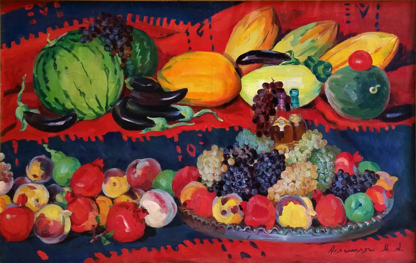 Mariam Aslamazian was once labeled 'the Armenian Frida Kahlo' based on certain aesthetic features in her paintings. Her work, 'Collective Farm Abundance,' is on display at the Derfner Judaica Museum + The Art Collection at Hebrew Home at Riverdale through Aug. 25.