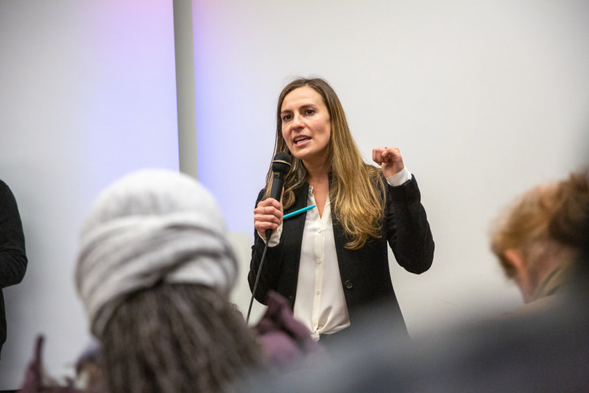 State Sen. Alessandra Biaggi talks about her ongoing fight for tenants rights at a town hall in February. Biaggi has sponsored a bill that would provide improved coverage for care related to eating disorders.