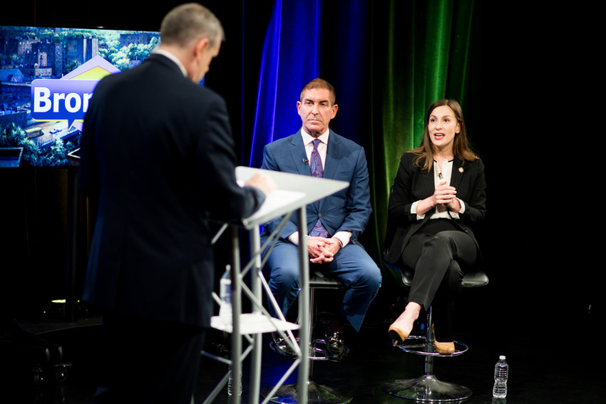 Then-candidate Alessandra Biaggi responds to a question from Gary Axelbank during a debate against state Sen. Jeffrey Klein in August. In her first six months as a state senator, Biaggi has proposed 61 bills, 13 of which of passed the upper chamber.