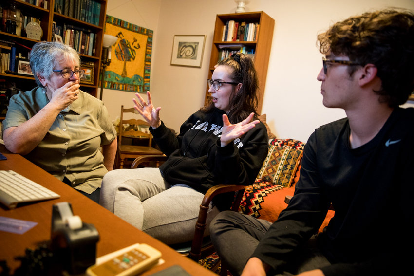 Jasmine Hyman, center, speaks with Rabbi Linda Shriner-Cahn and Julian Reich for an episode of the podcast 'Tehillah Talks.' Hyman and Reich are the first teenage board members of Congregation Tehillah.