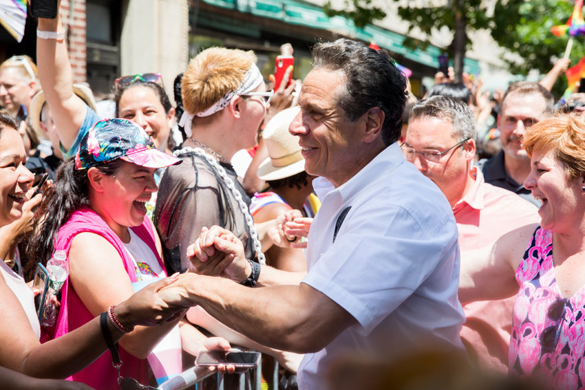 Gov. Andrew Cuomo, who likely misses greeting crowds like he did for New York City pride celebrations last summer, called out U.S. Senate majority leader Mitch McConnell for suggesting states should solve budget deficits by filing for bankruptcy.