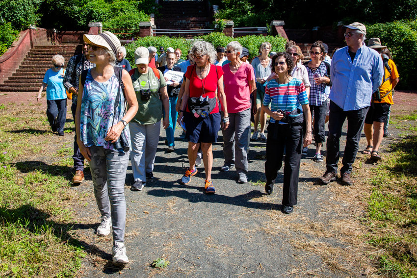 Debbi Dolan leads a group of approximately 40 nature enthusiasts on a walk through Van Cortlandt Park to highlight local flora and fauna, and to expound on the history of the park's various trails, including the soon-to-be paved over Old Putnam Trail.