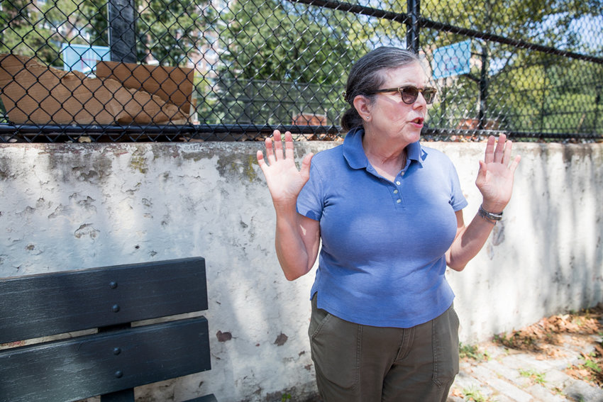 Miriam Gomez is flummoxed by how much of the southern half of Henry Hudson Park remains inaccessible since renovation work began last October. A lack of upkeep and locked fences have made the green space less enjoyable.