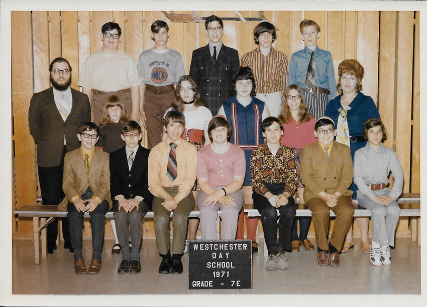 A 1971 photograph shows the seventh grade class at Westchester Day School where Michael Rabin, second from right in the top row, was a student. Rabin sought help from teachers and administrators after his claims he was molested by Stanley Rosenfeld, a teacher at the school who also taught at Salanter Akiba Riverdale Academy. Rosenfeld pleaded no contest to two counts of second-degree child molestation in 2001. Since the passage of the Child Victims Act, three people have filed civil suits against SAR.