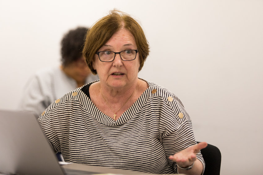 Community Board 8 chair Rosemary Ginty calls on the Bronx borough president's office to reject the proposed changes to Special Natural Area District regulations during a hearing in Ruben Diaz Jr.'s Grand Concourse office in July.