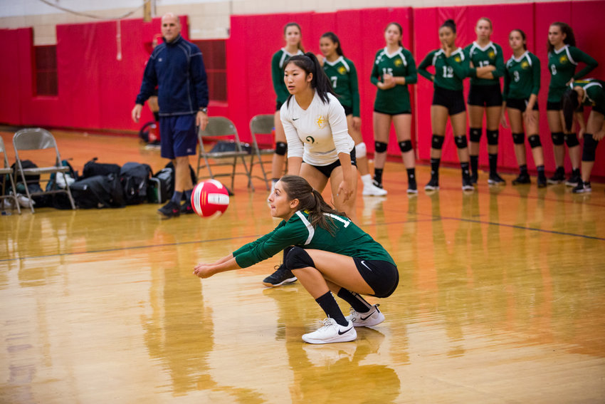 Bronx Science senior co-captain Darya Lollos digs out a shot by Roosevelt during the Wolverines 25-7, 25-16 victory over Roosevelt last week.
