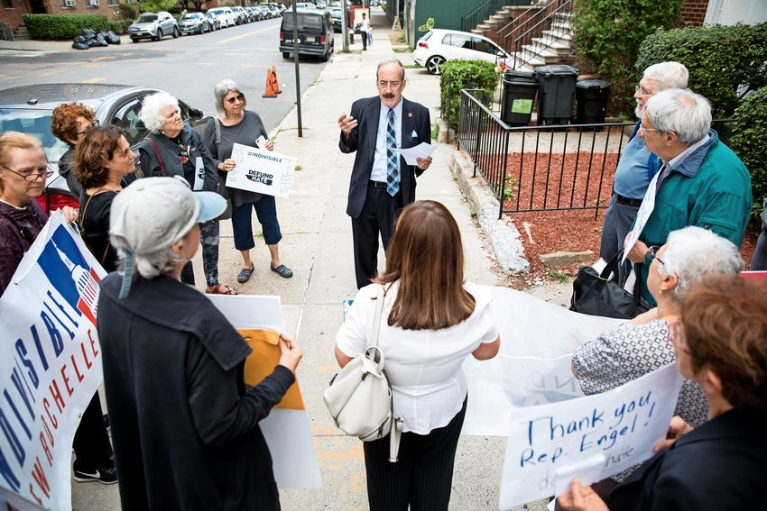 U.S. Rep. Eliot Engel expresses his gratitude for the work of local activist groups outside his Bronx office. They had gathered to thank the congressman for his efforts to thwart the president?s hardline immigration agenda.