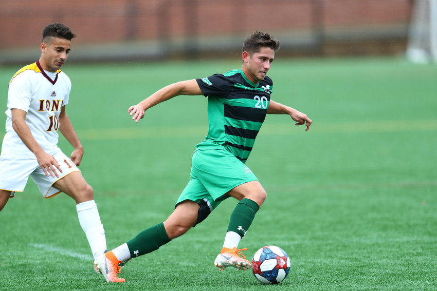 Manhattan's Moritz Riegel blows past an Iona defender during last week's MAAC matchup. Moritz's goal gave Manhattan a 1-0 lead, but the Jaspers couldn't hold on for the win.