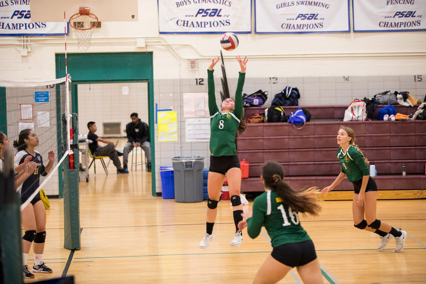 Bronx Science's Grace Lorch prepares to set up teammate Anya Lollos for one of her 20 assists in the Wolverines' victory over Riverdale/Kingsbridge Academy.