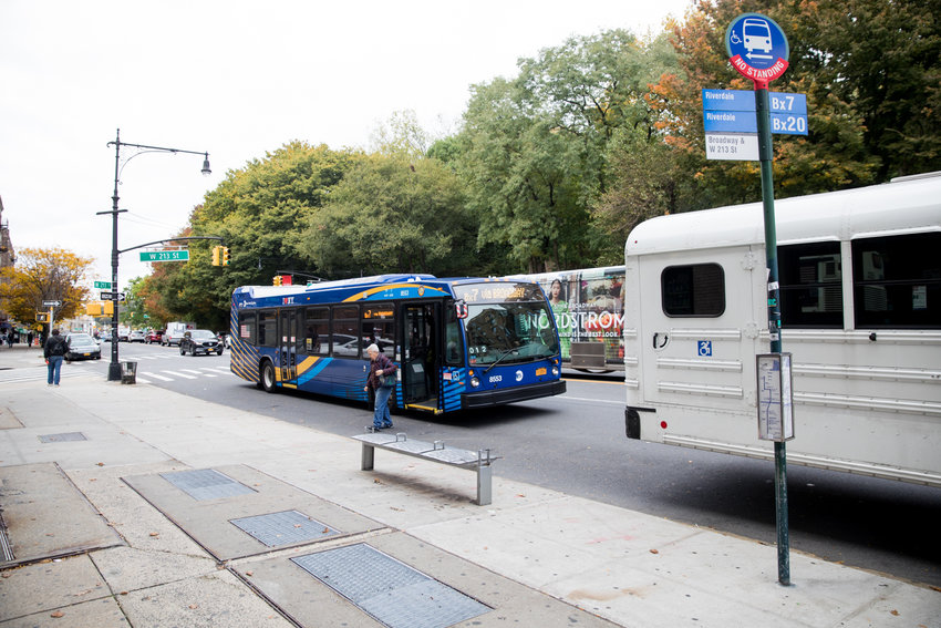 A Riverdale-bound Bx7 bus stops at West 213th Street and Broadway, a stop that will disappear if the Metropolitan Transportation Authority's redesign of the borough's bus network comes to fruition. A total of 13 stops are slated to be removed from the Bx7 route.