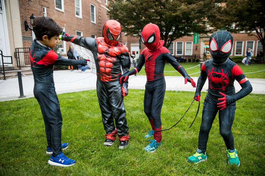 Manhattan College's Safe Halloween event brought together a surplus of young would-be web-slingers in Spider-Man costumes.