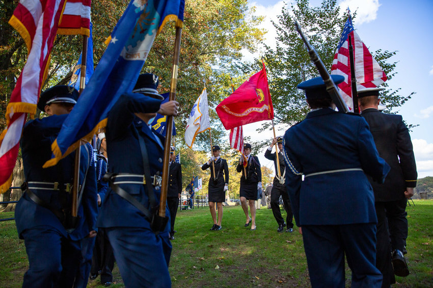ROTC members from Fordham University, Manhattan College and SUNY Maritime along with U.S. Naval Sea Cadets start the Veterans Day ceremony honoring all the men and women who served in the U.S. Armed Forces in Van Cortlandt Park's Memorial Grove on Nov. 3.