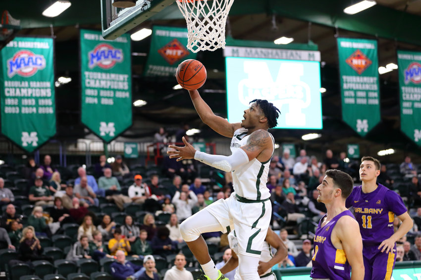 Tykei Greene, the Jaspers' sophomore guard, scored seven of his career-high 17 points in the final minutes to help Manhattan rally for a 57-51 victory over Albany.