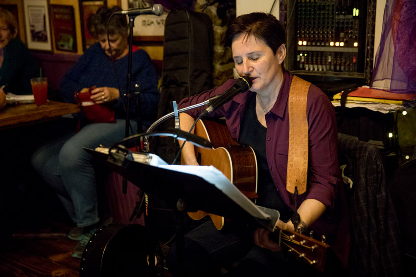 Mary Courtney plays music at An Beal Bocht Café where she is a regular at the West 238th Street venue.