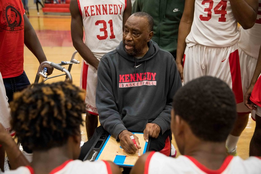 Kennedy's Johnny Mathis isn't letting his medical issues get in the way of his 32nd season as the Knights' head basketball coach.