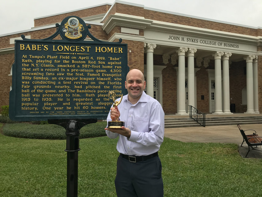 Homegrown television news reporter Evan Axelbank won a regional Emmy for his story exploring whether Babe Ruth hit professional baseball's longest home run on a windy April day in 1919 in Tampa, Florida. Axelbank is a reporter for WTVT-Channel 13 in the central Florida city.