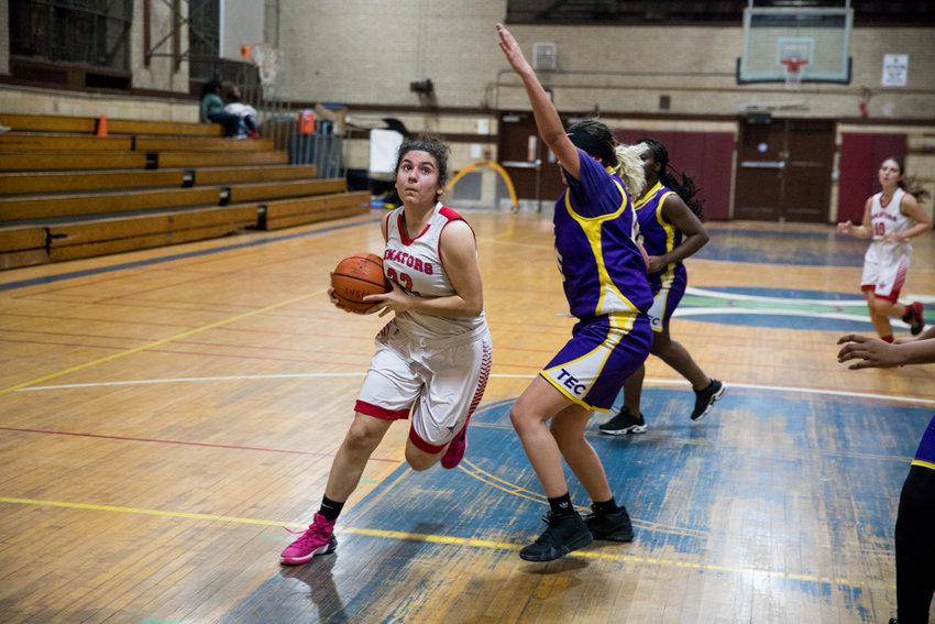American Studies senior Emily Eljamal posted a double-double with 11 points and 18 rebounds in the Senators' win over Taft.