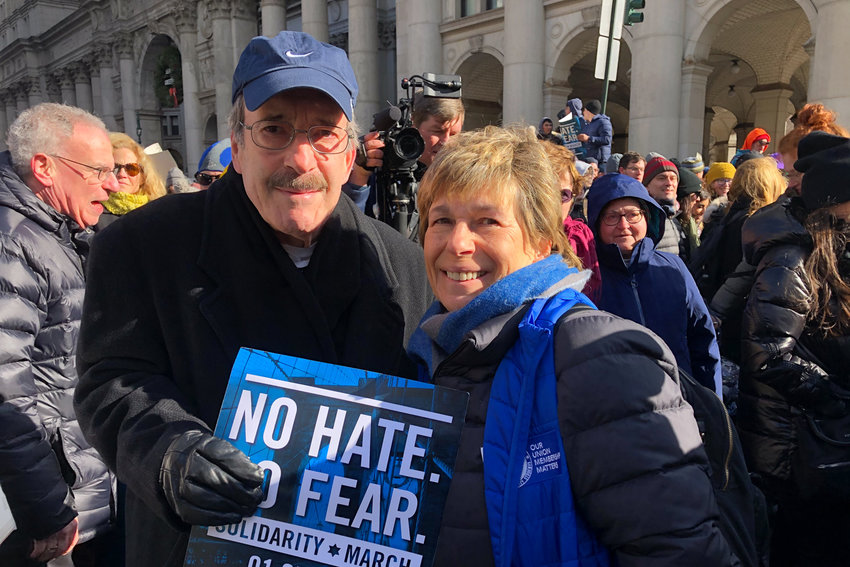 U.S. Rep. Eliot Engel takes a moment to greet American Federation of Teachers president Randi Weingarten during the anti-hate march across the Brooklyn Bridge on Sunday. Thousands of people came out to protest a series of anti-Semitic attacks that have plagued the tri-state area over the last several months, including a stabbing at a rabbi's home in Monsey upstate.