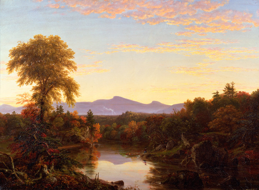 Thomas Cole's painting 'On Catskill Creek, Sunset' is one of a dozen in the exhibition 'Thomas Cole's Refrain: The Paintings of Catskill Creek,' on display at the Hudson River Museum through Feb. 23.
