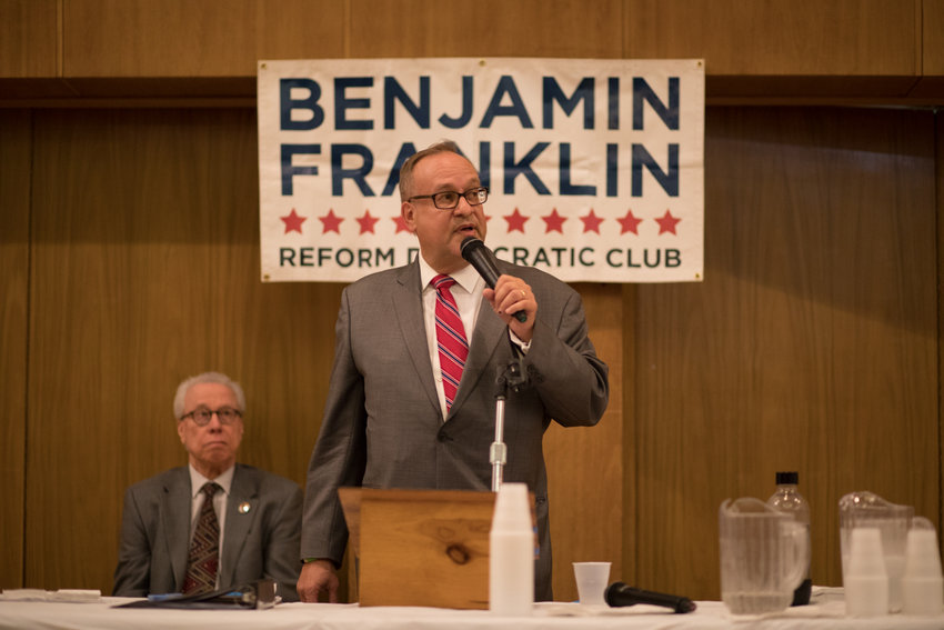 Benjamin Franklin Reform Democratic Club president Michael Heller looks to hold onto his seat in the club's upcoming leadership election, but he's facing insurrection from newer members who have put forth an alternative slate of candidates led by educator Morgan Evers.