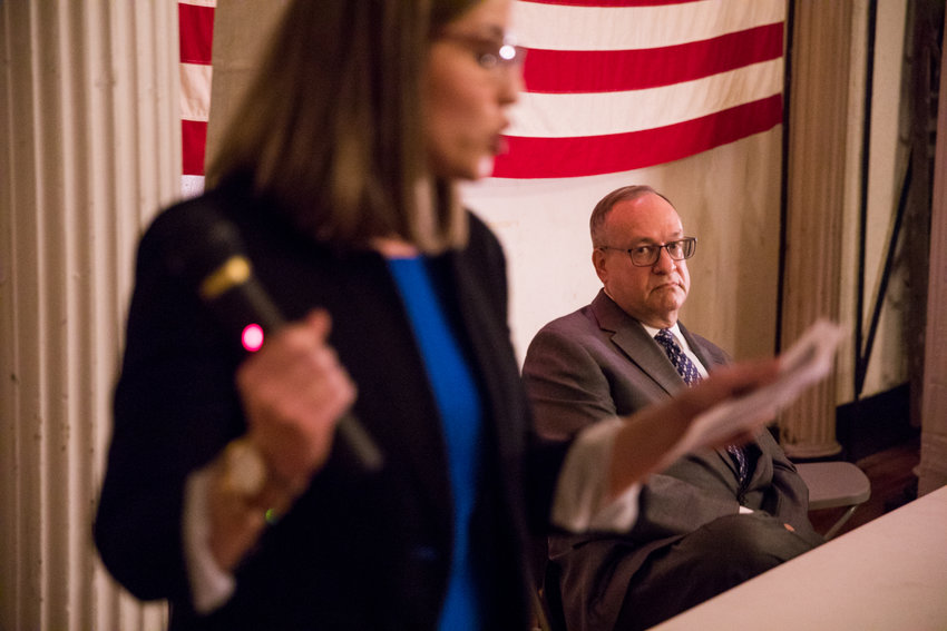 Morgan Evers makes her case for president of the Benjamin Franklin Reform Democratic Club, while current president Michael Heller watches. Heller retained his seat after the club election ended Jan. 29.