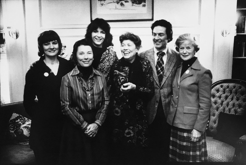At the Riverdale Mental Health Association's 1977 annual meeting, the organization's $1-A-Week committee members were introduced, including (from left) DiAnn Pierce, Terry Lane, Jill Babcock, Andrea Simon, RMHA president Zachary Rosenfield, and Sylvia Goldberg.