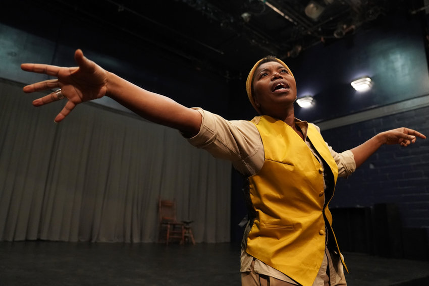 Donnetta Lavinia Grays put on a one-woman show at WP Theater in 'Where We Stamd.' And yes, there's coffee and doughnuts.