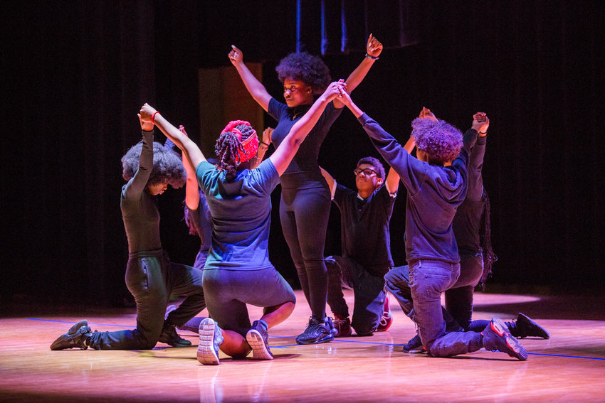 Students perform Beyoncé's 'Lift Every Voice & Sing' for the Marble Hill School for International Studies' second annual Black History Show, organized by the school's new Black Student Union.