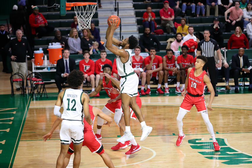 Manhattan's Pauly Paulicap scored 11 points and pulled down nine rebounds, but it wasn't enough to prevent the Jaspers from suffering a 66-50 loss to Fairfield last Friday night.