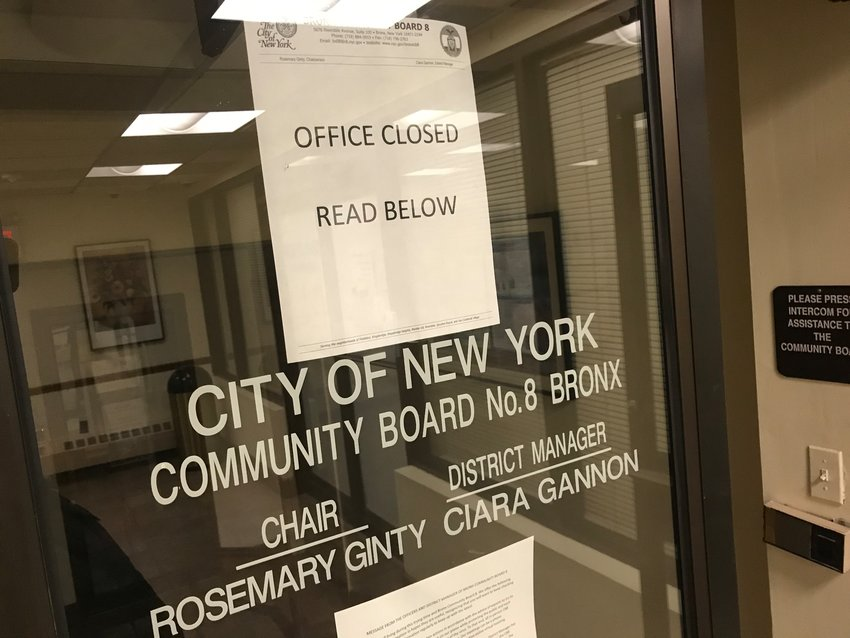 The Community Board 8 office may be closed at 5676 Riverdale Ave., but committee meetings are continuing — just in the virtual space.