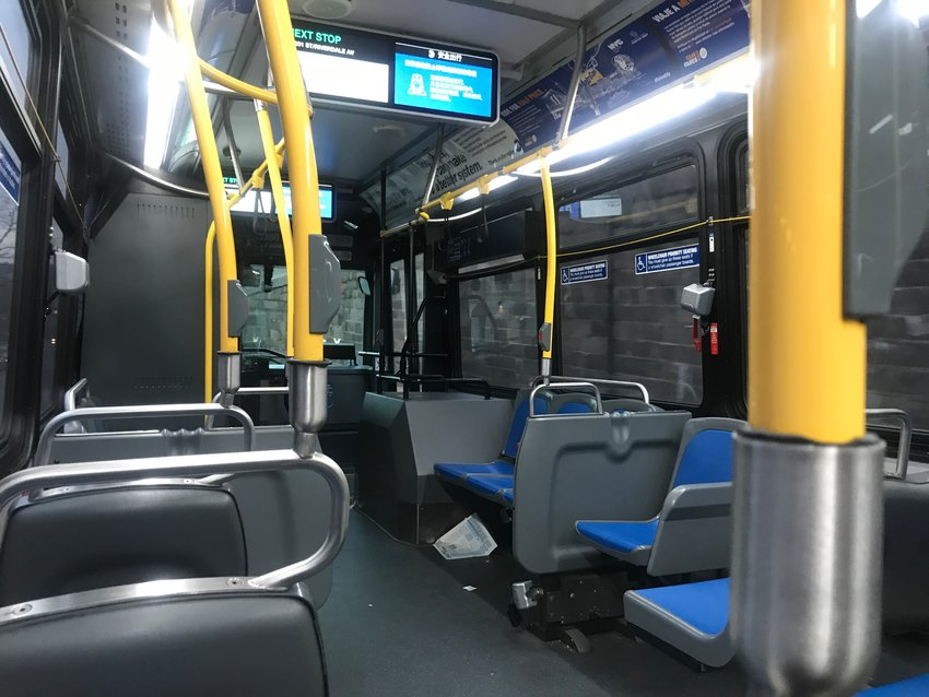 A near-empty Bx7 bus lumbers its way down Riverdale Avenue toward West 231st Street. Just hours before Gov. Andrew Cuomo locked down the state, few people were using mass transit.