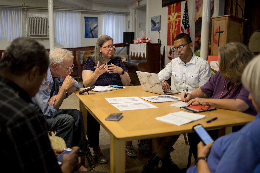 Jone Johnson Lewis, leader of the Riverdale-Yonkers Society for Ethical Culture, center, is adapting to taking the organization's services and activities online as the coronavirus pandemic has caused many people to stay at home.