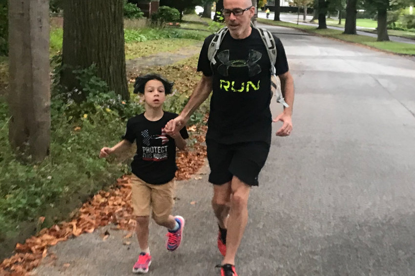 Jonathan Cane and son Simon were working to reduce their carbon footprint by running the 1.5 miles from their home to P.S. 81, where Simon is in the third grade, every morning. That is, until the coronavirus pandemic closed schools down