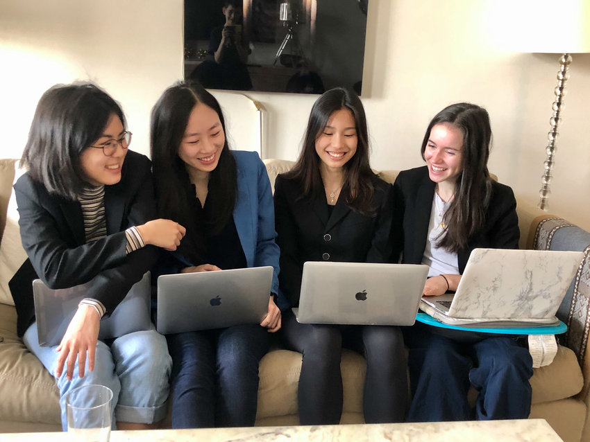 Rosemary Jiang, left, Olivia Pollack, Vivian Lee and Natalie Chen had a productive first year as members of the Females in Finance Club at Ethical Culture Fieldston School. Before the school year was cut short because of the coronavirus pandemic, they qualified for the global finale in the Knowledge@Wharton High School investment competition.