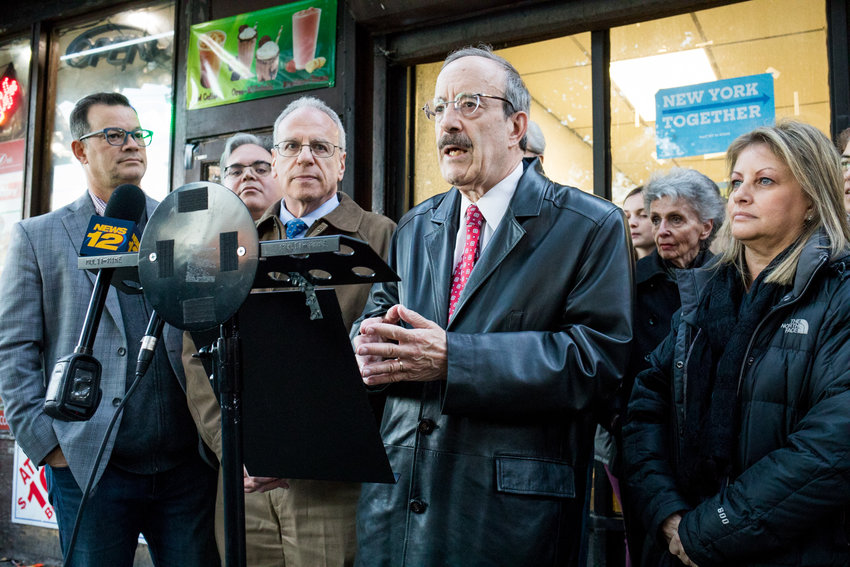 U.S. Rep. Eliot Engel and Assemblyman Jeffrey Dinowitz, center, tried to put criticism about where the congressman has been spending the pandemic to rest through the Assemblyman's 'COVID Conversations' — a 45-min- ute chat Engel did from his home in the Washington suburbs rather than from the Bronx, where he reportedly