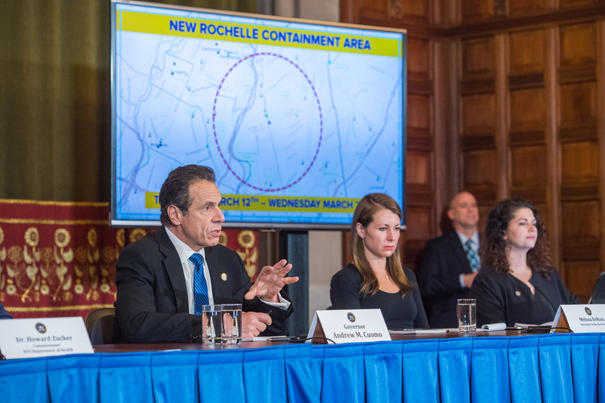 Gov. Andrew Cuomo announces he's shutting down what would become New York's first coronavirus hotspot around New Rochelle on March 10. At the same time, Mayor Bill de Blasio was getting his first warnings from city health commissioner Oxiris Barbot about the need to start shutting some services down — recommendations de Blasio initially resisted.