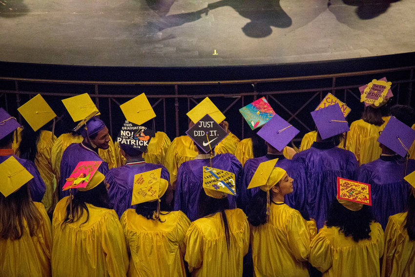 Graduating seniors won't be able to enjoy the usual rites of passage, like IN-Tech's 2018 graduation seen here, at least not right now. The city's education board decided not to allow in-person graduations, though some schools, like the Bronx School of Law and Finance, have opted to slate their ceremonies for later in the year.