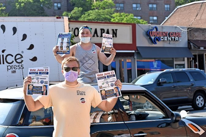 Eitan Weinsteiner and Lenny Faiwiszewski, both volunteering for U.S. Rep. Eliot Engel, set up shop on Johnson Avenue for the primary election on June 23. College students who live in Riverdale, the two said Engel had a long history of doing good in the district, and said they had talked to many Engel supporters throughout the day.