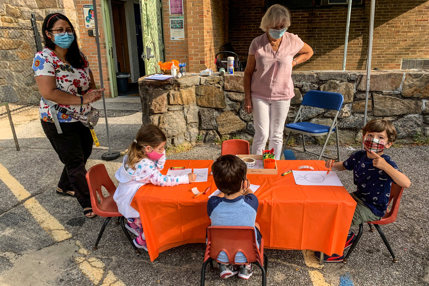 Maria Gabriela Bolaños, left, lead teacher of the 'Orange Room,' and Anna Dropiewska supervise Riverdale Temple Nursery School prospective students at a meet-and-greet. Between them, they have more than 18 years of academia experience.