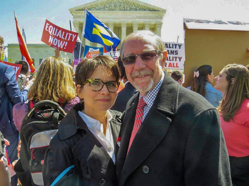 George and RoseAnn Hermann have been fighting for LGBT rights for many years. And they've seen those rights come a long way — including this moment just before the landmark U.S. Supreme Court decision in Obergefell v. Hodges, which legalized same-sex marriage on the federal level in the United States.