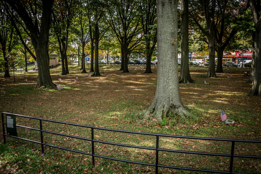 Fallen leaves covered Memorial Grove at Van Cortlandt Park before students from Manhattan College arrived last weekend to clean it up. Now it's ready for Herb Barret's annual Veterans Day celebration, set for Sunday, Nov. 8 at noon.