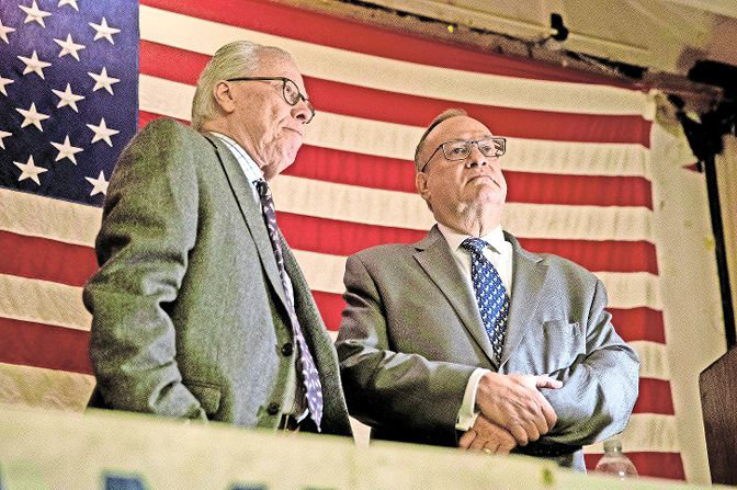 How much power was the Benjamin Franklin Reform Democratic Club ready to cede to its president Michael Heller, right? Depending on who you asked, it ranges from only what's necessary from people like vice president Bruce Feld, left, to unilateral control from others.