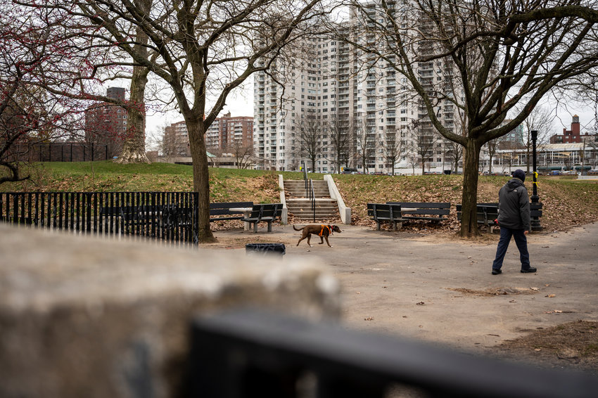 A man takes his dog for a walk through Seton Park on a chilly December morning. The park sits along Independence Avenue, which could become the site of several road design changes in the near future as part of an effort to discourage drag racing on the avenue.