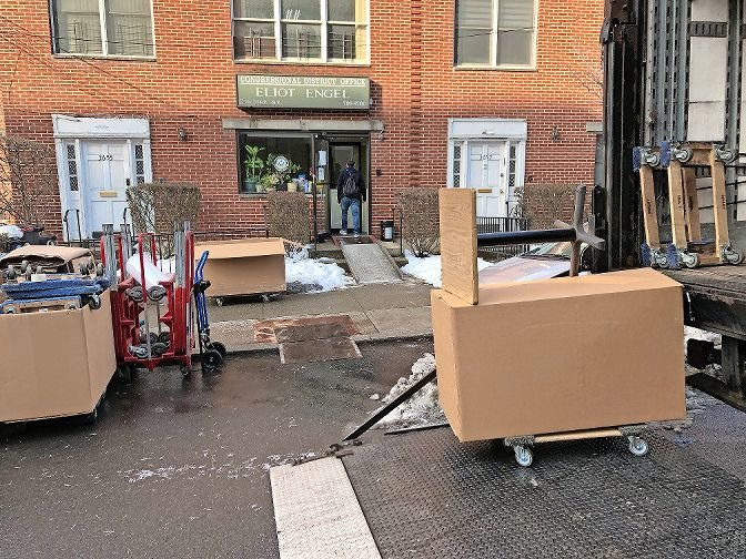 Moving trucks were outside U.S. Rep. Eliot Engel's district office on Johnson Avenue this past Tuesday, clearing out as 2020 comes to a close. His successor, Congressman-elect Jamaal Bowman, is set to be sworn into Engel's old seat on Jan. 3.