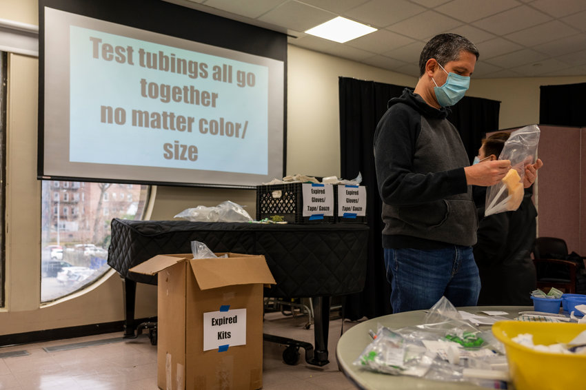 Volunteers gathered at The Riverdale Y on Dr. Martin Luther King Jr. Day to help sort and package medical supplies for Afya Foundation — an organization that donates surplus medical supplies to communities in need. Since the outset of the coronavirus pandemic, Afya has donated personal protective equipment to hospitals and community organizations in the Bronx.