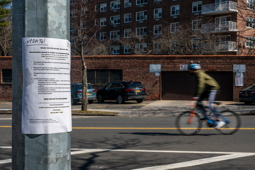 It looked as though Community Board 8's traffic and transportation committee was finally getting somewhere developing recommendations to curb reckless driving along Independence Avenue. But random flyers anonymously posted in the neighborhood criticizing details of the process has forced the committee to start back almost at square one.