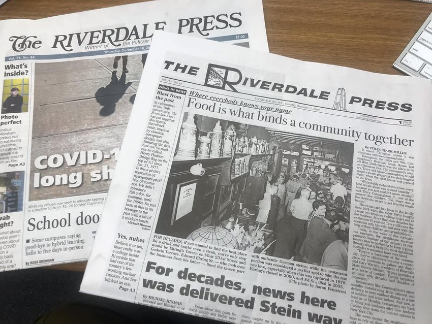 The Dec. 17, 2020 edition of The Riverdale Press was a 'throwback' issue celebrating the 70th anniversary of the paper. It was the first time since 1971 an edition of The Press was delivered to homes without its iconic flag designed by Richard L. Stein.